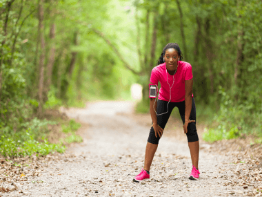 Photo of a woman recovering from a high exertion workout