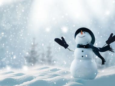 An image of a snowman in a field to illustrate the concept of Eskimo words for snow.