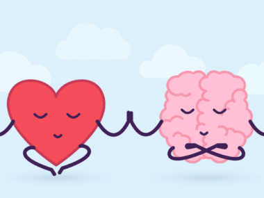 Image of a heart and brain at peace with each other