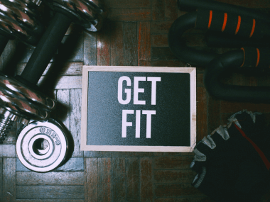 Photo of exercise gear that says get fit