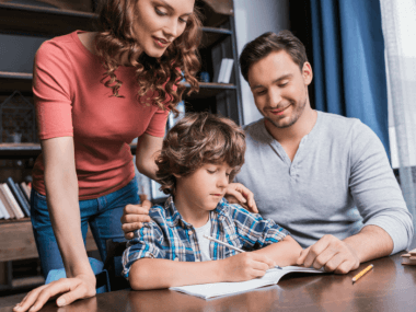 parents helping kid with homework