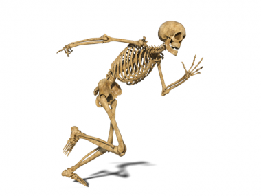 Drawing of a skeleton running