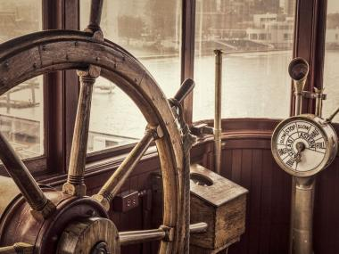 The wheelhouse of a ship