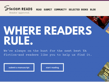 screenshot of the Swoon Reads landing page