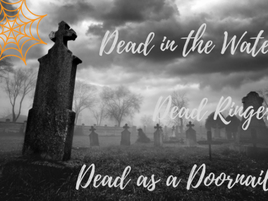 A creepy image of a graveyard to illustrate idioms about death