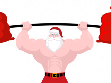 Drawing of a fit santa with holiday gifts