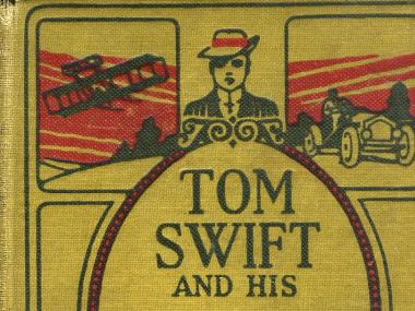 The cover of a Tom Swift book from which we get the Tom Swifty jokes