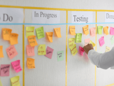 image of a kanban board managing a process in steps