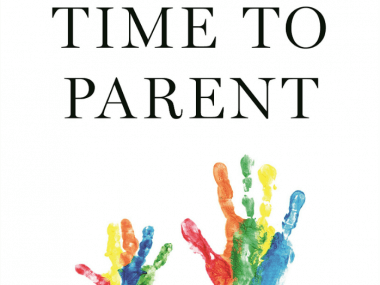 image of time to parent book cover with kids handprints in paint