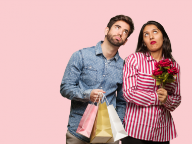 Young couple tired of Valentine's Day
