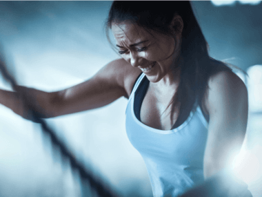 Photo of a woman doing HIIT