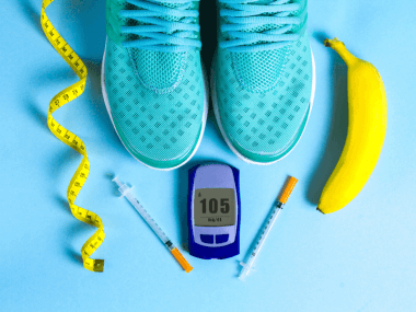 Photo of exercise gear, insulin and a blood glucose meter