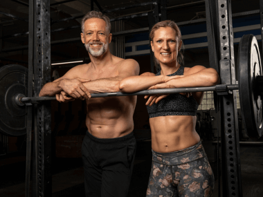 Photo of middle-aged athletes with muscles