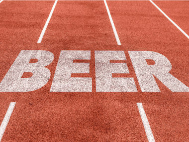 The word beer written on a running track