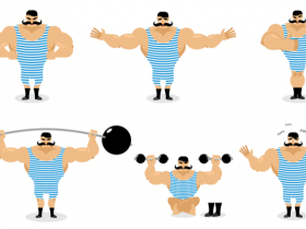 Drawing of an old time weighlifter