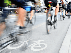 Photo of cyclists commuting to work