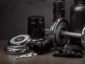 Image of pills and dumbbells