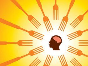 image of a brain surrounded by forks symbolizing mindful eating
