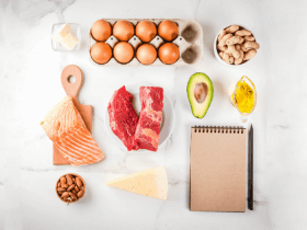 image of ketogenic diet foods like eggs, salmon, and avocado