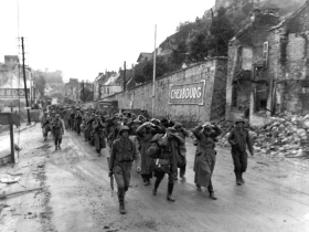 German forces retreating on D-Day.