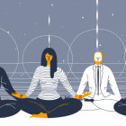 corporate workers meditating
