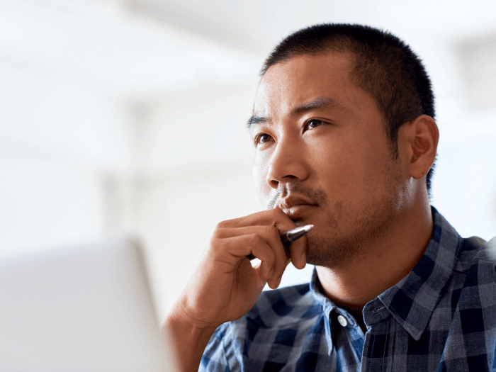 image of a man focused and being mindful of a single task