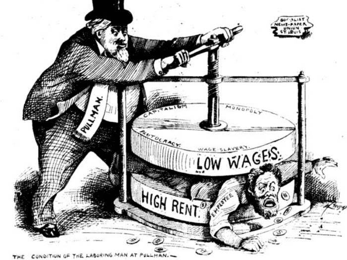 political cartoon of the laboring man at pullman