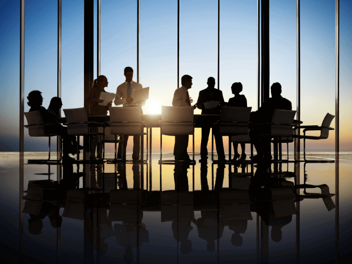 image of meeting with sun in background