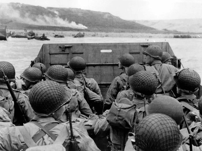 American troops approaching Omaha Beach on DDay
