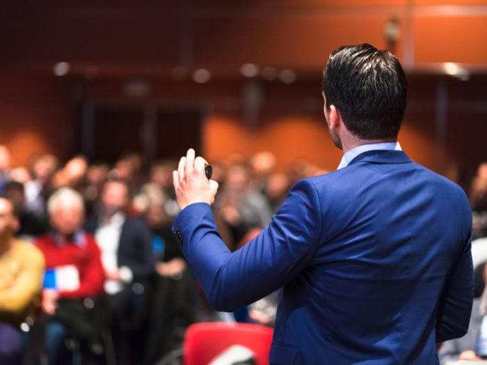 Speaker at a business conference