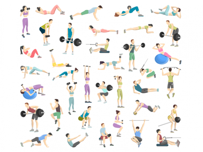 Drawing of people doing different exercises