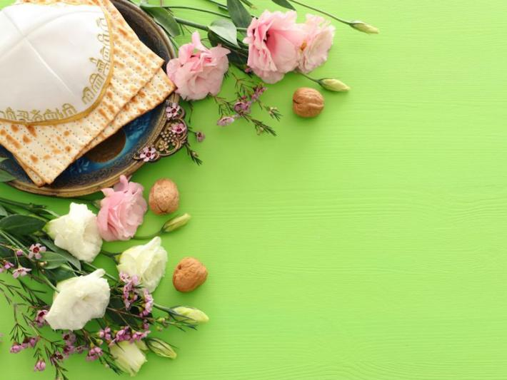A Passover montage with Easter colors to represent that the two holidays are related