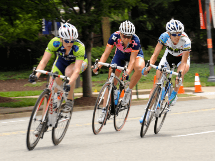 Photo of three female cyclists