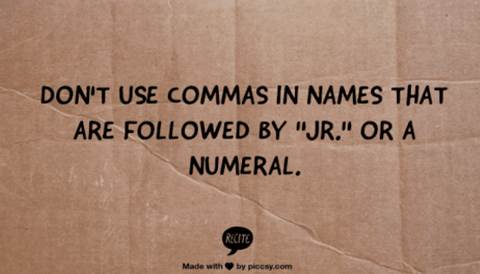Comma before jr.