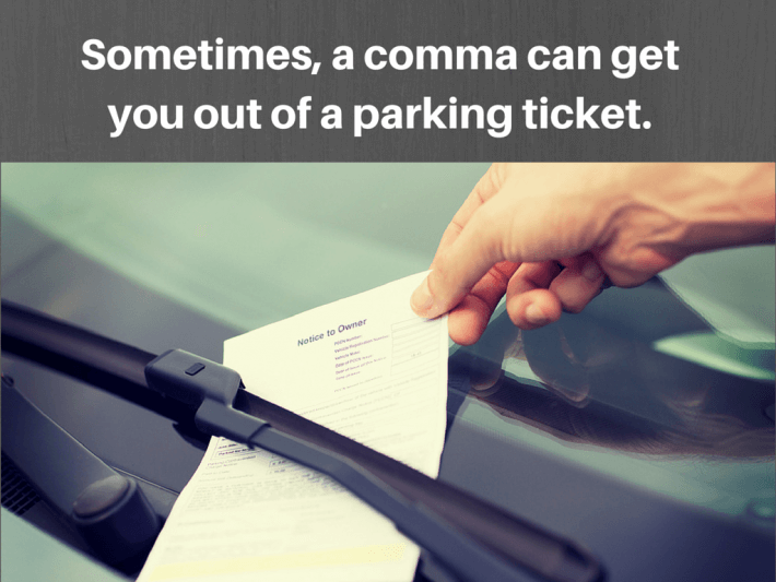 comma woman parking ticket