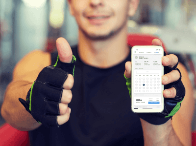 Man holding a fitness app