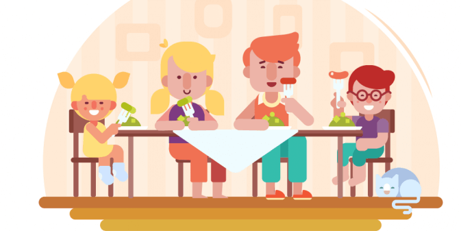 illustration of family eating together