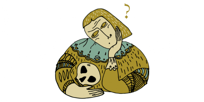 hamlet looking confused at a skull representing confusion of shakespeare language