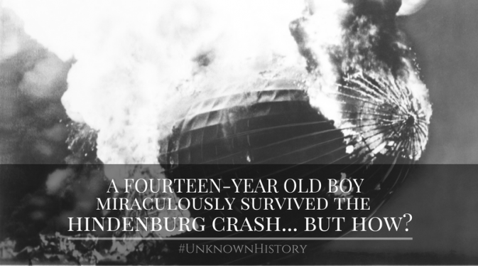 how did a fourteen year old boy survive the hindenburg crash