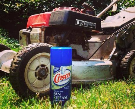 Lawn mower with cooking spray