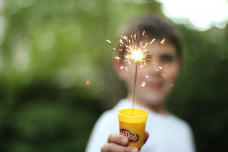Put sparklers in play doh