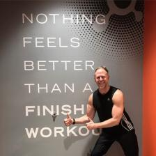 Photo of Brock Armstrong after an Orangetheory class.