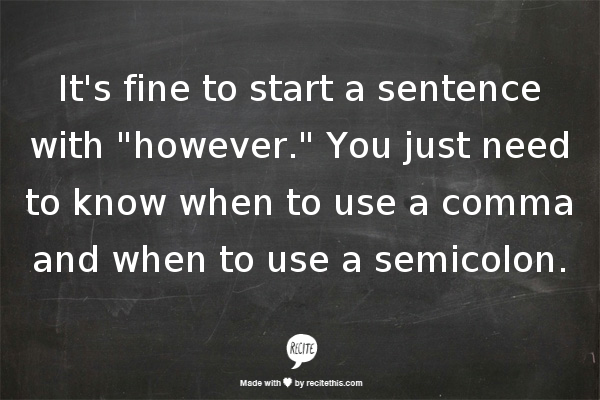 how to write however in a sentence